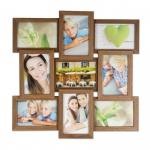 levandeo Bilderrahmen Collage 45x45cm 9 Fotos 10x15 Nussbaum MDF Holz Glas