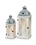 2tlg. Laternen Set Holz weiß Metall Glas Shabby Chic 42cm & 60cm 2er