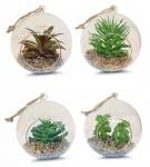 4er Set Sukkulenten Glas 10x12cm Pflanze Grün Tischdeko Kunstpflanze Deko