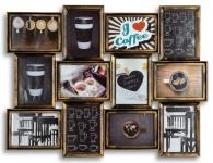 levandeo Bilderrahmen Collage 72x54cm Kupfer Schwarz Glas 12 Fotos 13x18cm