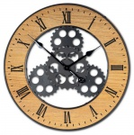 XXL Wanduhr 56 cm Rund Zahnrad Uhr Braun Schwarz Großuhr Industrie-Design Holz