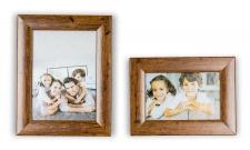 2er Set Bilderrahmen Holz Optik Braun 10x15 und 13x18 Foto Rahmen Glasscheibe