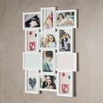 Fotocollage weiß für 12 Fotos 3D Optik Bilderrahmen weiße Fotogalerie