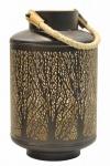 Windlicht 32x20cm Metall Schwarz Gold Kerzenhalter Garten Deko Laterne