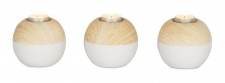 Teelichthalter 3er Set B x H: 11x9cm Dolomit Rund Weiß Natur Deko
