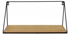 Wandregal Regal 39x15cm Schwarz Metall MDF Holz Natur Design Modern Industrie