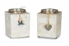 2er Set Kerzenständer Beton Je 13cm Hoch Kerzenleuchter Grau Kerzenhalter Deko