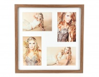 Fotorahmen 4 Fotos 10x15 Passepartout Holz Nussbaum braun Bilderrahmen
