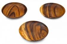 3er Set Snackschale Holz Akazie 15x15cm Rund Schale Obstschale Dekoschale Teller