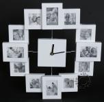 Fotouhr - Wanduhr für 12 Fotos weiß Bilderrahmen Fotogalerie Collage