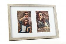 Fotorahmen 2 Fotos 10x15 Passepartout Holz Eiche gekälkt Bilderrahmen