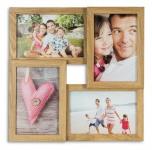 levandeo Bilderrahmen Collage 28x28cm 4 Fotos 10x15 Eiche MDF Holz Glascheiben