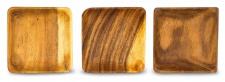 3er Set Snackschale Holz Akazie 15x15cm Quad Schale Obstschale Dekoschale Teller