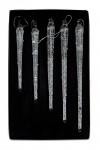 5x Deko Anhänger Eiszapfen Glas 10-18cm Winterdeko Weihnachtsdeko Baumschmuck