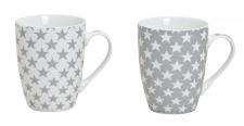 2er Set Becher Tasse Kaffeebecher Motivtasse Sterne Weiß Grau Pott