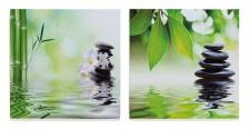 2 Wandbilder im Set Orchideen Bambus Feng Shui Wellness 2er Set Bild