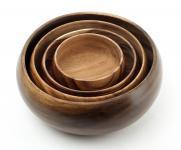 4 Holzschalen aus Akazie rund Holz Schale Obstschale Deko Unikate
