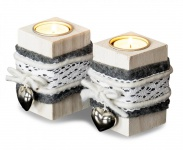 2er Set Teelichthalter Holz je 10cm hoch Kerzenhalter Shabby Chic Weiß Herz