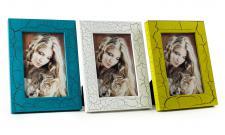 3er Set Bilderrahmen Shabby blau, weiß und gelb grün Portraitrahmen