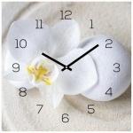 Wanduhr Glas 30x30cm Uhr Glasbild Orchidee Weiß Sand Stein Wellness Wanddeko