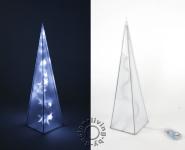 LED Pyramide Lampe 45cm weiß Holografie Battteriebetrieb Tischleuchte