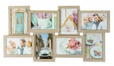 levandeo Bilderrahmen Collage 57x30cm 8 Fotos 10x15 Eiche gekälkt MDF Holz Glas