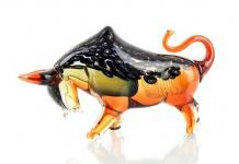 Designer Skulptur Stier Figur aus Glas Design hochwertige Glasskulptur