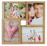 levandeo Bilderrahmen Collage B x H: 34x34cm 4 Fotos 13x18 Eiche MDF Holz Glas