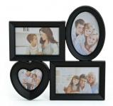 Bilderrahmen Herz für 4 Fotos in schwarz Fotogalerie Fotocollage