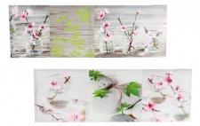 2 Leinwandbilder im Set je 30x90cm Blume Wellness pink rosa Glasvasen