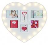 levandeo Bilderrahmen Herz Weiß 53x53cm 6 Fotos LED Collage Fotorahmen Glas
