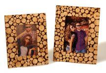 2er Set Fotorahmen Holzscheiben Bilderrahmen Aufsteller 10x15 + 13x18