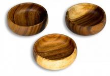 3er Set Snackschale Holz Akazie 10x3cm Rund Design Schale Obstschale Dekoschale