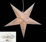 Leuchtstern 5 Zacken weiß silber 60cm Papiertstern Stern inkl Kabel