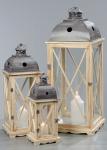3tlg. Großes Laternen Set Holz Kiefer Metall Glas Shabby Chic Garten