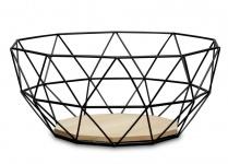 Korb Metall Schwarz 26x12cm Modern Holz MDF Braun Schüssel Schale Deko Design
