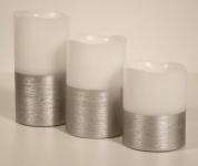 3er Set LED Echtwachs Kerzen - Licht Kerzenlicht Deko Tischdeko silber