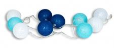 10er Lichterkette LED Kugeln Lampions Baumwolle Blau Weiß Cotton Warmweiß