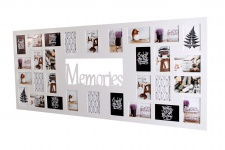 Bilderrahmen 139x60cm Holz Weiß Memories 32 Fotos 10x15 Fotorahmen