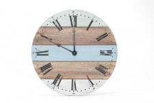 Wanduhr aus Holz 28cm Holzuhr Uhr Blau Weiß Grün Natur Shabby Maritim