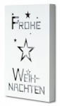 Wandbild LED 20x30cm Weiß Holz Frohe Weihnachten Bild Beleuchtung Wanddeko Deko