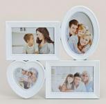 Bilderrahmen Herz für 4 Fotos in weiß Fotogalerie Collage Herzformat