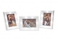 3er Set Bilderrahmen 10x15 LED 20x14, 5cm Weiß Barock Shabby Chic