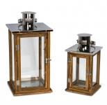 2er Set Holzlaternen Windlichter Hochwertig Holz Metall Glas braun