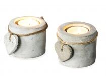 2er Set Teelichthalter Beton je 6cm hoch Kerzenhalter Kerzenständer Tischdeko