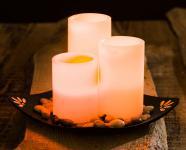 3er Set LED Echtwachs Kerzen mit Deko Schale Flackerlicht Tischdeko