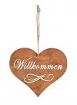 Schild Willkommen Herz 10, 5x9cm Garten-Deko Türschild Edelrost Wandbild