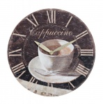 Wanduhr Holz 29cm Cappuccino Cafe Coffee Kaffee Holzuhr Uhr Shabby