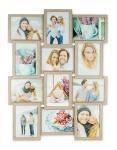 levandeo Bilderrahmen Collage 51x68cm 12 Fotos 13x18 Eiche gekälkt MDF Holz Glas