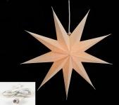 Leuchtstern 9 Zacken creme weiß 60cm Papiertstern inkl Kabel